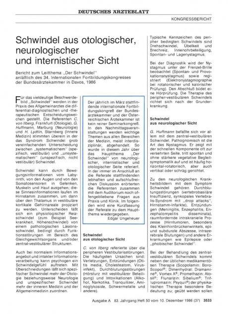 Schwindel aus otologischer, neurologischer und internistischer Sicht