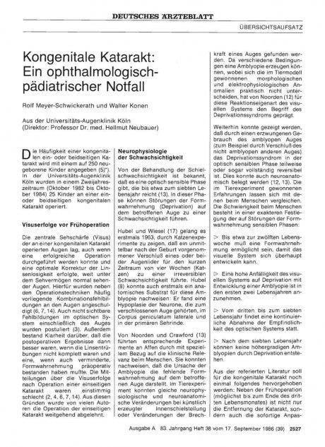 Kongenitale Katarakt: Ein ophthalmologischpädiatrischer Notfall