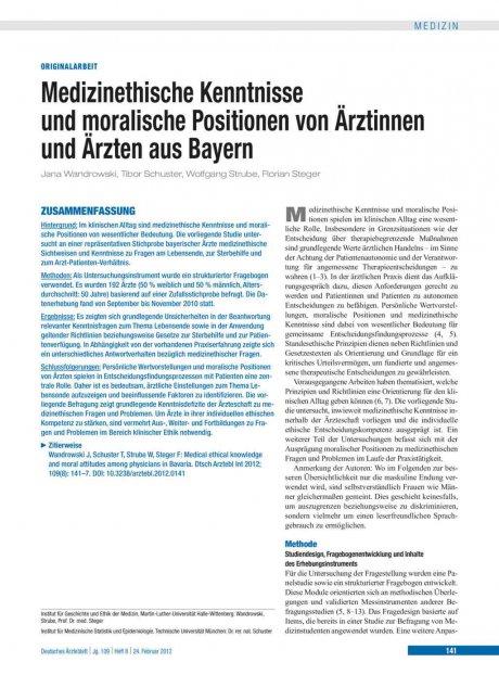 Medizinethische Kenntnisse und moralische Positionen von Ärztinnen und Ärzten aus Bayern