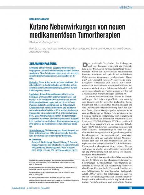 Kutane Nebenwirkungen von neuen medikamentösen Tumortherapien