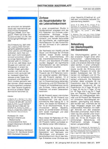 Behandlung der Alkoholhepatitis mit Oxandrolon