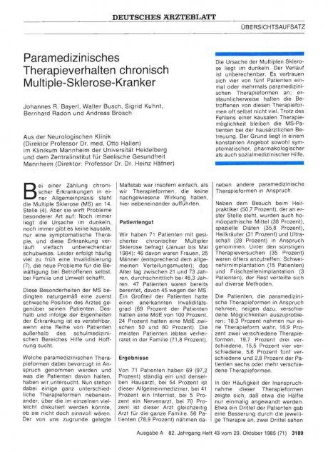 Paramedizinisches Therapieverhalten chronisch Multiple-Sklerose-Kranker