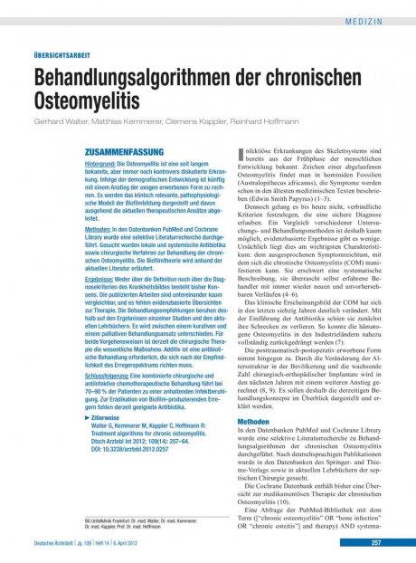 Behandlungsalgorithmen der chronischen Osteomyelitis