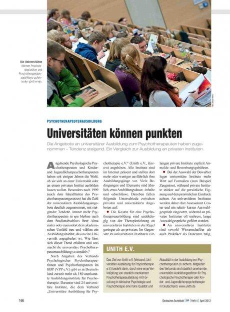 Psychotherapeutenausbildung: Universitäten können punkten