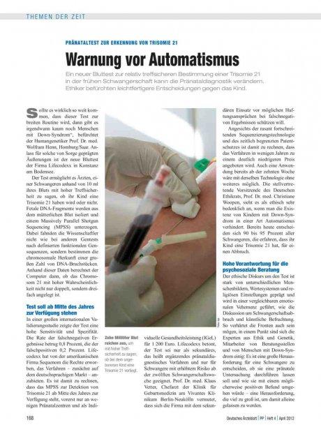 Pränataltest zur Erkennung von Trisomie 21: Warnung vor Automatismus