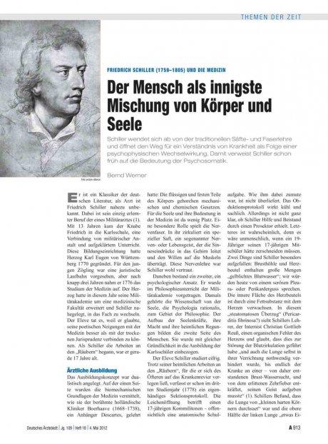 Friedrich Schiller (1759–1805) und die Medizin: Der Mensch als innigste Mischung von Körper und Seele