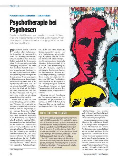 Psychotische Erkrankungen – Schizophrenie: Psychotherapie bei Psychosen