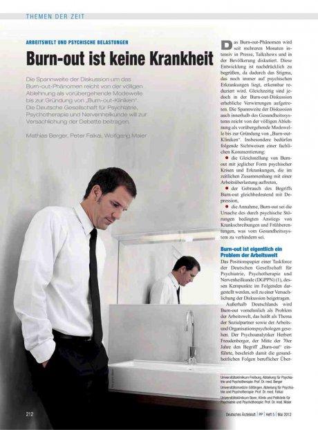 Arbeitswelt und psychische Belastungen: Burn-out ist keine Krankheit