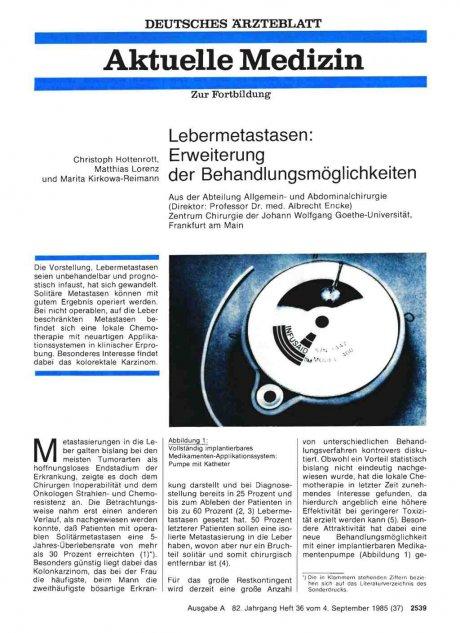 Lebermetastasen: Erweiterung der Behandlungsmöglichkeiten
