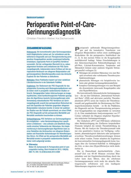 Perioperative Point-of-Care-Gerinnungsdiagnostik