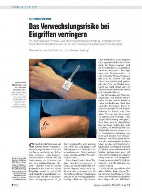 Patientensicherheit: Das Verwechslungsrisiko bei Eingriffen verringern