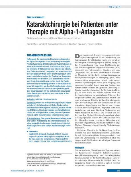 Kataraktchirurgie bei Patienten unter Therapie mit Alpha-1-Antagonisten