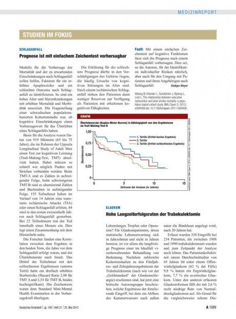 Glaukom: Hohe Langzeiterfolgsraten der Trabekulektomie