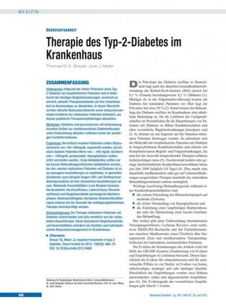 Therapie des Typ-2-Diabetes im Krankenhaus