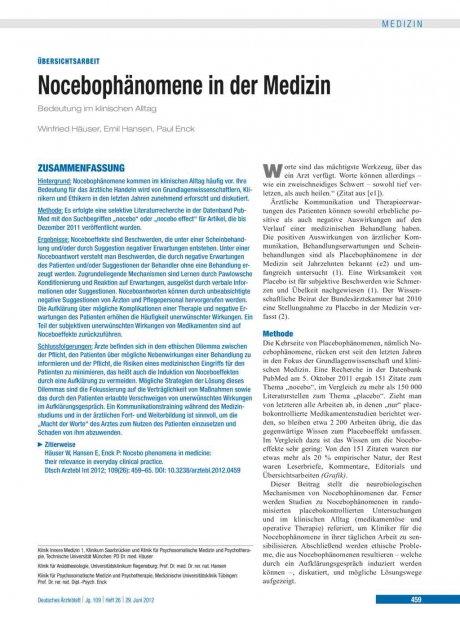 Nocebophänomene in der Medizin