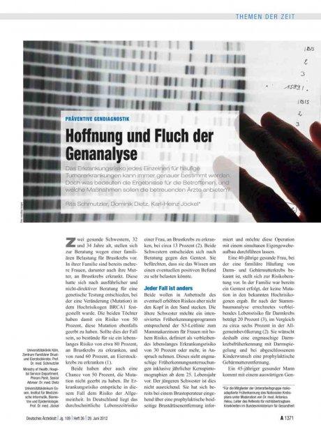 Präventive Gendiagnostik: Hoffnung und Fluch der Genanalyse