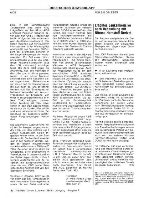 Erhöhtes Leukämierisiko nach Behandlung mit Nitroso-Harnstoff-Derivat