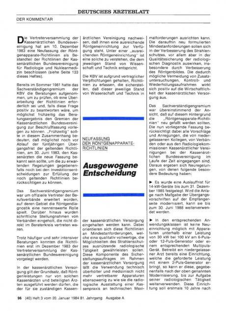 Ausgewogene Entscheidung: Neufassung der Röntgenapparate-Richtlinien