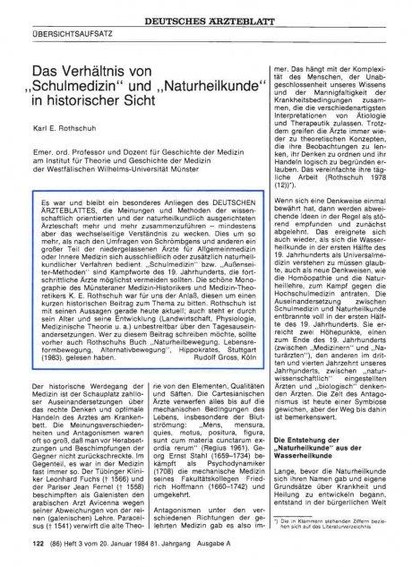 """Das Verhältnis von """"Schulmedizin"""" und """"Naturheilkunde"""" in historischer Sicht"""