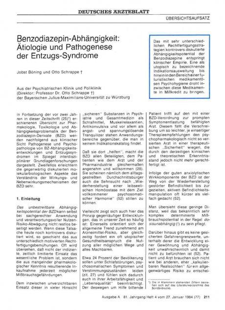 Benzodiazepin-Abhängigkeit: Ätiologie und Pathogenese der Entzugs-Syndrome