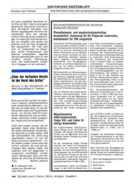 Möglicherweise AIDS-kontaminierte Faktor VIII- und Faktor IXhaltige Arzneimittel