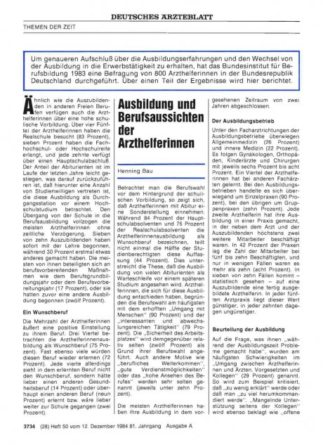 Ausbildung und Berufsaussichten der Arzthelferinnen
