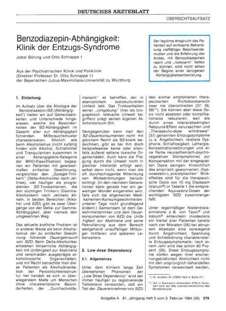 Benzodiazepin-Abhängigkeit: Klinik der Entzugs-Syndrome