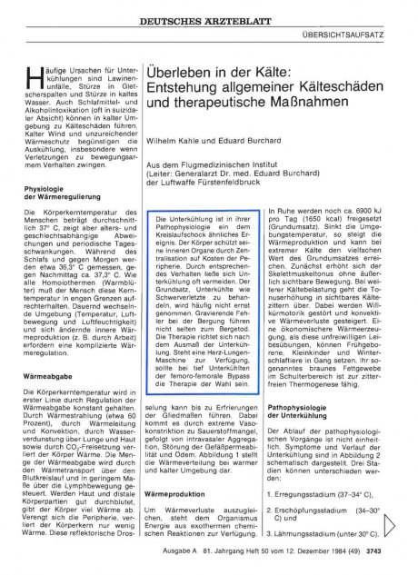 Überleben in der Kälte: Entstehung allgemeiner Kälteschäden und therapeutische Maßnahmen