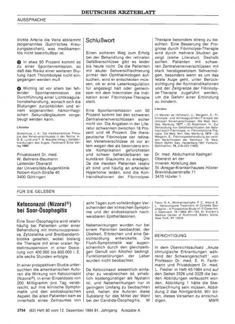 Ketoconazol (Nizoral®) bei Soor-Ösophagitis
