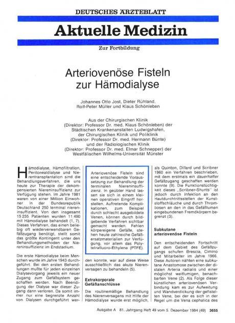 Arteriovenöse Fisteln zur Hämodialyse