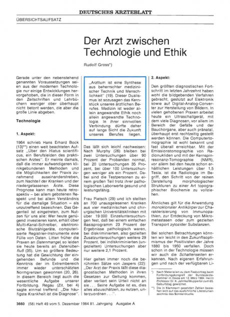 Der Arzt zwischen Technologie und Ethik