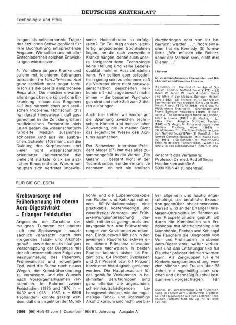 Krebsvorsorge und Früherkennung im oberen Aero-Digestivtrakt — Erlanger Feldstudien