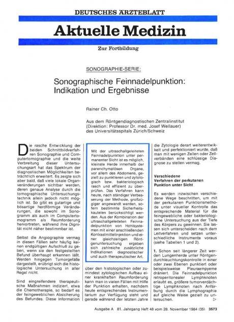 SONOGRAPHIE-SERIE: Sonographische Feinnadelpunktion: Indikation und Ergebnisse