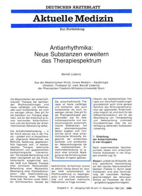 Antiarrhythmika: Neue Substanzen erweitern das Therapiespektrum
