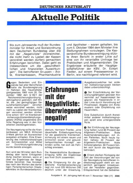 Erfahrungen mit der Negativliste: überwiegend negativ!
