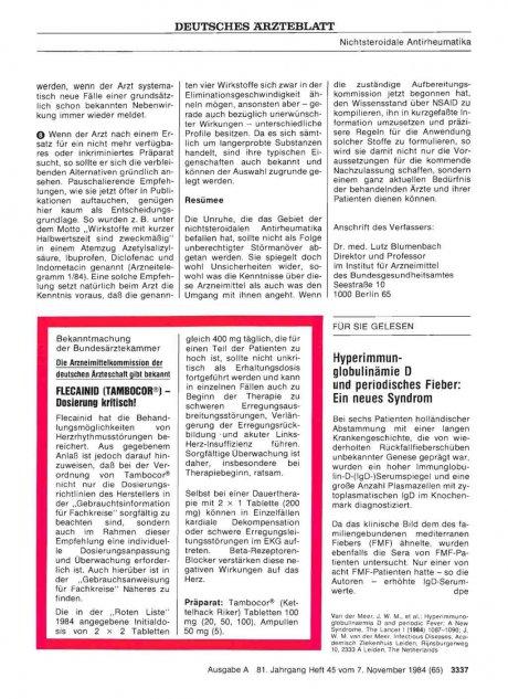 Die Arzneimittelkommission der deutschen Ärzteschaft gibt bekannt: FLECAINID (TAMBOCOR®) — Dosierung kritisch!