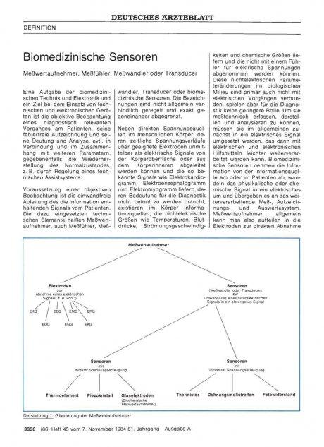 Biomedizinische Sensoren: Meßwertaufnehmer, Meßfühler, Meßwandler oder Transducer