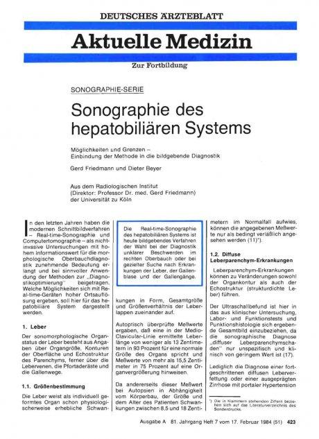 Sonographie des hepatobiliären Systems