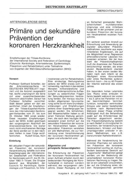 Primäre und sekundäre Prävention der koronaren Herzkrankheit