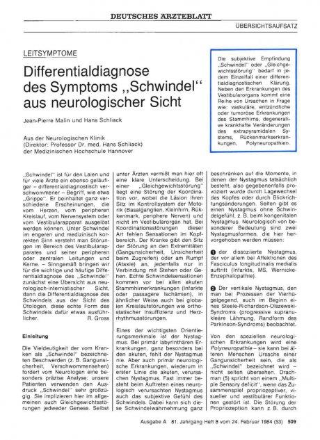 """Differentialdiagnose des Symptoms """"Schwindel"""" aus neurologischer Sicht"""