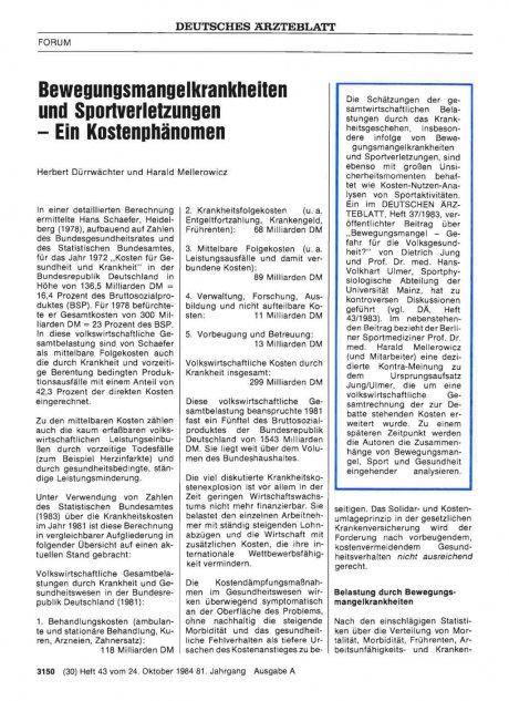 Bewegungsmangelkrankheiten und Sportverletzungen - Ein Kostenphänomen