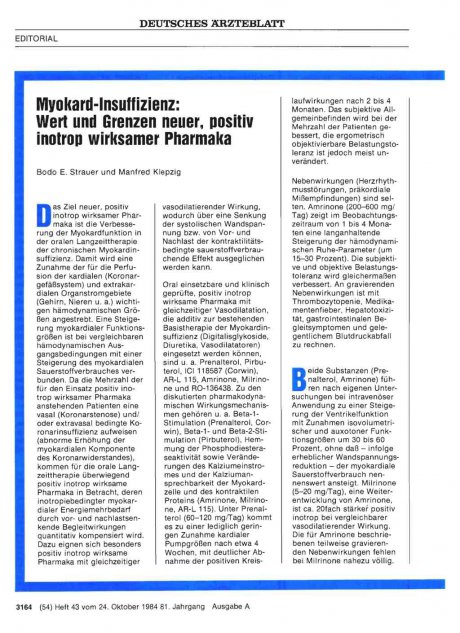 Myokard-Insuffizienz: Wert und Grenzen neuer, positiv inotrop wirksamer Pharmaka