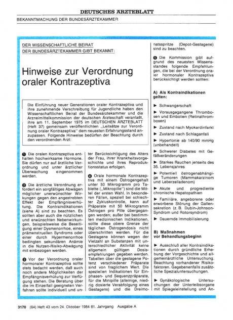 DER WISSENSCHAFTLICHE BEIRAT DER BUNDESÄRZTEKAMMER GIBT BEKANNT: Hinweise zur Verordnung oraler Kontrazeptiva