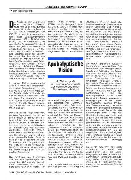 Apokalyptische Vision: 4. Weltkongreß der Internationalen Ärzte zur Verhinderung eines Atomkrieges, Helsinki