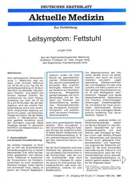 Leitsymptom: Fettstuhl