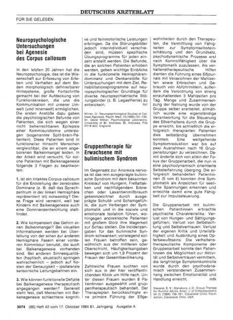Neuropsychologische Untersuchungen bei Agenesie des Corpus callosum