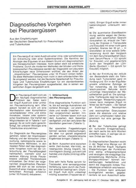Diagnostisches Vorgehen bei Pleuraergüssen: Aus den Empfehlungen der Deutschen Gesellschaft für Pneumologie und Tuberkulose
