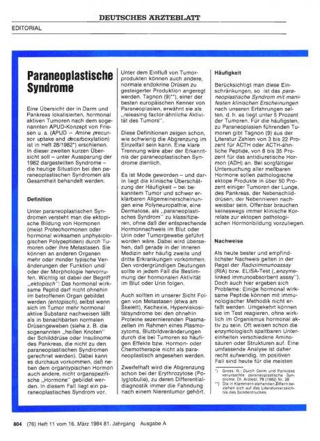 Paraneoplastische Syndrome