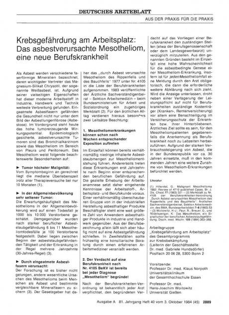 Krebsgefährdung am Arbeitsplatz: Das asbestverursachte Mesotheliom, eine neue Berufskrankheit