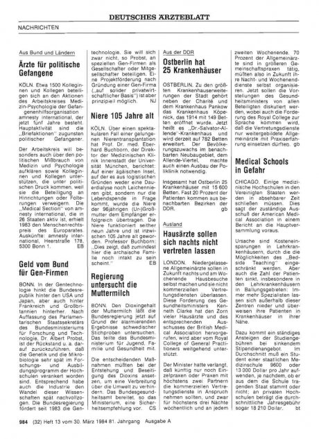Ostberlin hat 25 Krankenhäuser